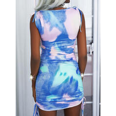 Tie Dye Sleeveless Bodycon Above Knee Casual/Vacation Dresses