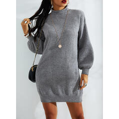 Solid Stand Collar Casual Long Sweater Dress