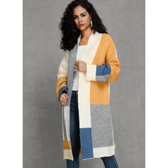 Polyester Long Sleeves Patchwork Wide-Waisted Coats
