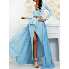 Solid Long Sleeves A-line Skater Party/Elegant Maxi Dresses