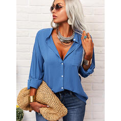 Solid V-Neck 3/4 Sleeves Button Up Casual Shirt Blouses