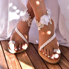 Women's PU Flat Heel Sandals Toe Ring With Flower shoes