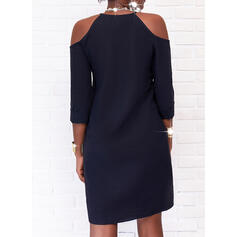 Solid 1/2 Sleeves Shift Knee Length Little Black/Casual Tunic Dresses