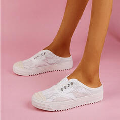 Women's Cloth Mesh With Stitching Lace shoes