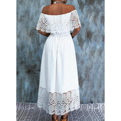 Lace/Solid Short Sleeves A-line Skater Casual Midi Dresses