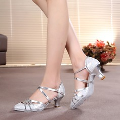 Women's Ballroom Heels Pumps Sparkling Glitter With Ankle Strap Modern