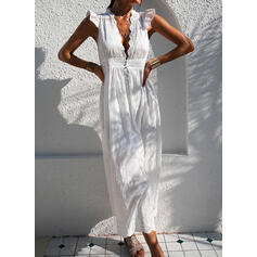 Lace/Solid Cap Sleeve A-line Casual/Vacation Maxi Dresses