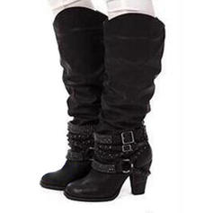 Women's Leatherette Chunky Heel Pumps Boots With Ruffles shoes