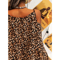 Leopard Long Sleeves Shift Above Knee Casual/Vacation Tunic Dresses
