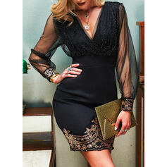 Print/Sequins Long Sleeves Bodycon Above Knee Party/Elegant Dresses