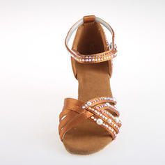 Women's Latin Heels Satin With Rhinestone Ankle Strap Latin