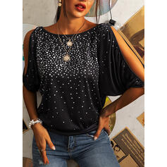 Sequins Cold Shoulder 1/2 Sleeves Casual Blouses