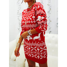 Print Long Sleeves Bodycon Above Knee Christmas/Casual Sweater Dresses