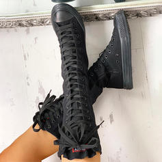 Women's Canvas Flat Heel Mid-Calf Boots With Zipper Lace-up shoes