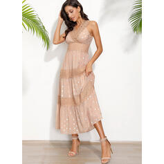 Lace/PolkaDot Sleeveless A-line Skater Casual/Vacation Maxi Dresses
