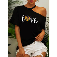 Print Leopard One-Shoulder Short Sleeves Casual Blouses