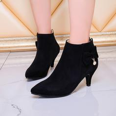 Women's Suede Low Heel Boots Closed Toe With Bowknot