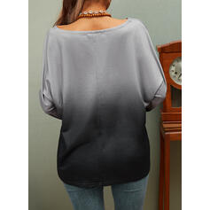 Print Figure Gradient V-Neck Long Sleeves Casual T-shirts