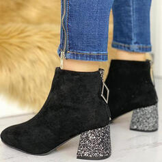 Women's Suede Chunky Heel Ankle Boots Square Toe Heels With Zipper Crystal Heel Solid Color shoes