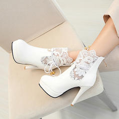 Women's Leatherette Spool Heel Boots Closed Toe With Stitching Lace