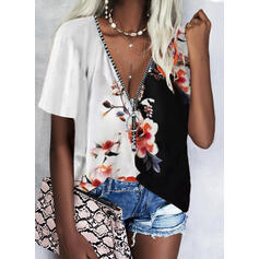 Print Color Block Floral V-Neck Short Sleeves Casual Blouses