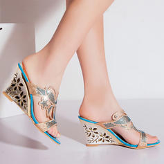 Women's Leatherette Wedge Heel Sandals With Rhinestone Hollow-out shoes