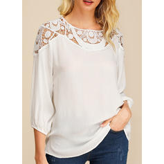 Solid Lace Round Neck 3/4 Sleeves Casual Blouses