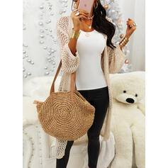 Solid Chunky knit Pocket Casual Long Cardigan