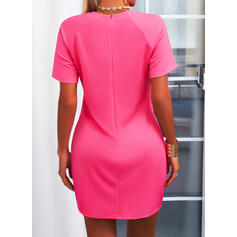 Solid Short Sleeves Sheath Above Knee Little Black/Casual Dresses
