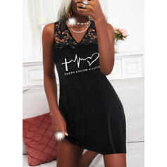 Lace/Print/Heart/Letter Sleeveless Shift Above Knee Casual Dresses
