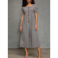 Solid Short Sleeves Casual Dresses