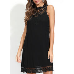Lace/Solid Sleeveless Shift Above Knee Little Black/Casual Dresses