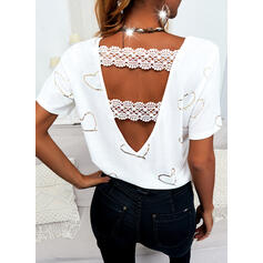 Print Lace Backless Heart Round Neck Short Sleeves Casual Elegant Blouses