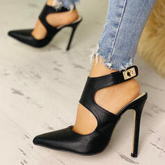 Women's Leatherette Stiletto Heel Pumps Pointed Toe With Buckle shoes