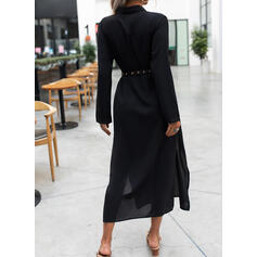 Solid Long Sleeves A-line Shirt Little Black Maxi Dresses