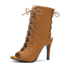 Women's Leatherette Stiletto Heel Boots Peep Toe Pumps Slingbacks With Lace-up