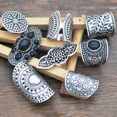 Unique Fashionable Exotic Alloy Resin Women's Rings (Set of 8)