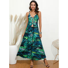 Print/Floral Sleeveless A-line Slip Casual Maxi Dresses