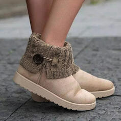 Women's Suede Flat Heel Ankle Boots Snow Boots Round Toe Slip On With Buckle Splice Color shoes