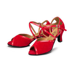 Women's Latin Heels Sandals Leatherette Suede With Ankle Strap Latin