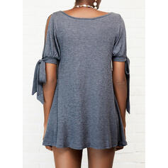 Solid Short Sleeves/Split Sleeve Shift Above Knee Casual Tunic Dresses