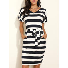 Print/Striped Short Sleeves Bodycon Knee Length Casual Dresses