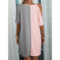 Print/Color Block 1/2 Sleeves Shift Above Knee Casual Tunic Dresses