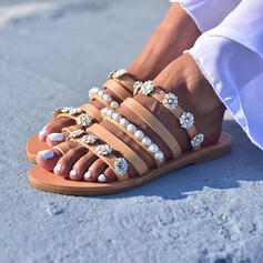 Women's PU Flat Heel Sandals Flats With Imitation Pearl Flower shoes