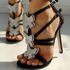Women's PU Stiletto Heel Sandals Pumps Peep Toe With Bowknot shoes