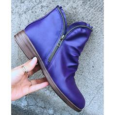 Women's PU Low Heel Ankle Boots With Zipper Solid Color shoes