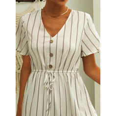Striped Short Sleeves A-line Above Knee Casual/Elegant Dresses