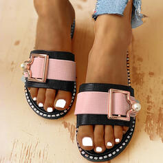 Women's PVC Flat Heel Sandals Peep Toe Slippers With Buckle shoes