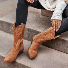 Women's Microfiber Chunky Heel Mid-Calf Boots Riding Boots Round Toe With Zipper Solid Color shoes