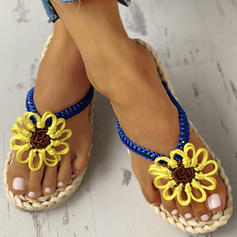 Women's PU Flat Heel Sandals Flats Peep Toe Slippers With Flower shoes
